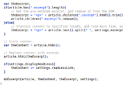 Thumbnail of jQuery Excerpt code